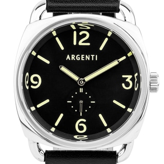 Argenti da Vinci Men's Classic Italian Military Design Watch, Cushion Shaped Case, Strong Luminescence, Genuine Leather
