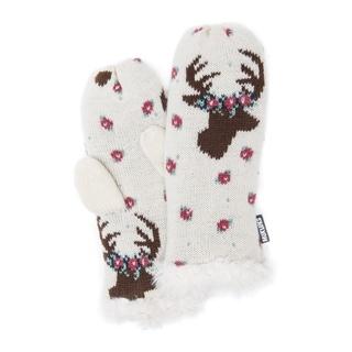 Muk Luks Women's Acrylic/ Polyester Faux Fur Deer Mittens