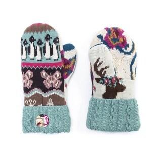 Muk Luks Women's Acrylic/ Polyester Faux Fur Fairisle Potholder Mittens