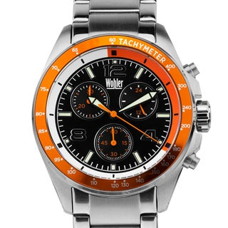Wohler Heidegger Men's sport chronograph watch, Miyota JS00 movement, bright luminescence, all stainless steel