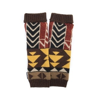 Muk Luks Women's Acrylic/ Polyester Colorblock Geo Knit Armwarmers