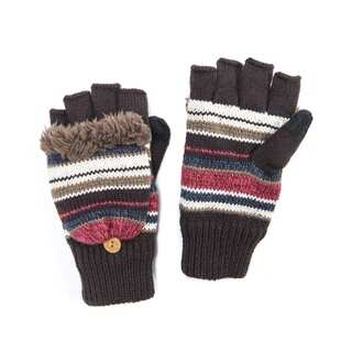 Muk Luks Women's Acrylic/ Polyester Furpa/ Polyester Fleece Block Stripe Flip Mittens