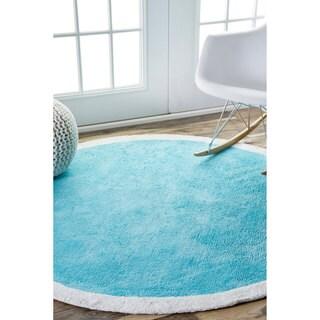nuLOOM Contemporary Cotton Kids Round Blue Rug (4' Round)