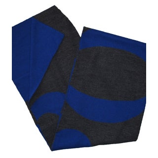 Hugo Boss Knitties Grey and Royal Blue Logo Scarf