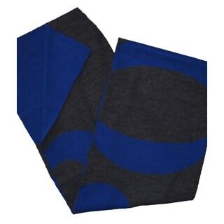 Hugo Boss Knitties Grey and Royal Blue Logo Scarf