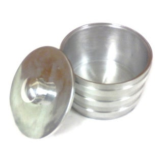 Rucci Ribbed Silvertone Tin Candle Holder