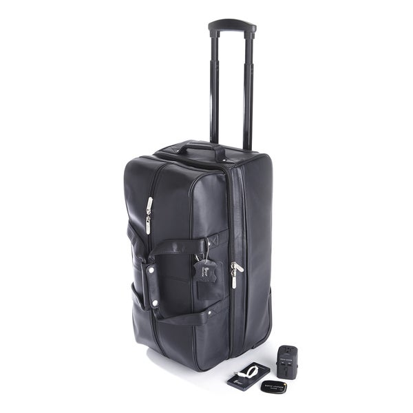 Royce leather rolling duffel bag travel set free shipping today overstock 19052299 for Leather luggage wheeled duffel