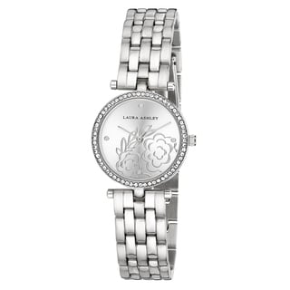 Laura Ashley Silver Five Link Floral Embossed Dial Stone Bezel Watch