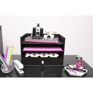 Designovation Francesca Black Wood Desktop Decorative Letter Tray