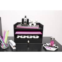 Designovation Francesca Black Wood Desktop Decorative Letter Tray
