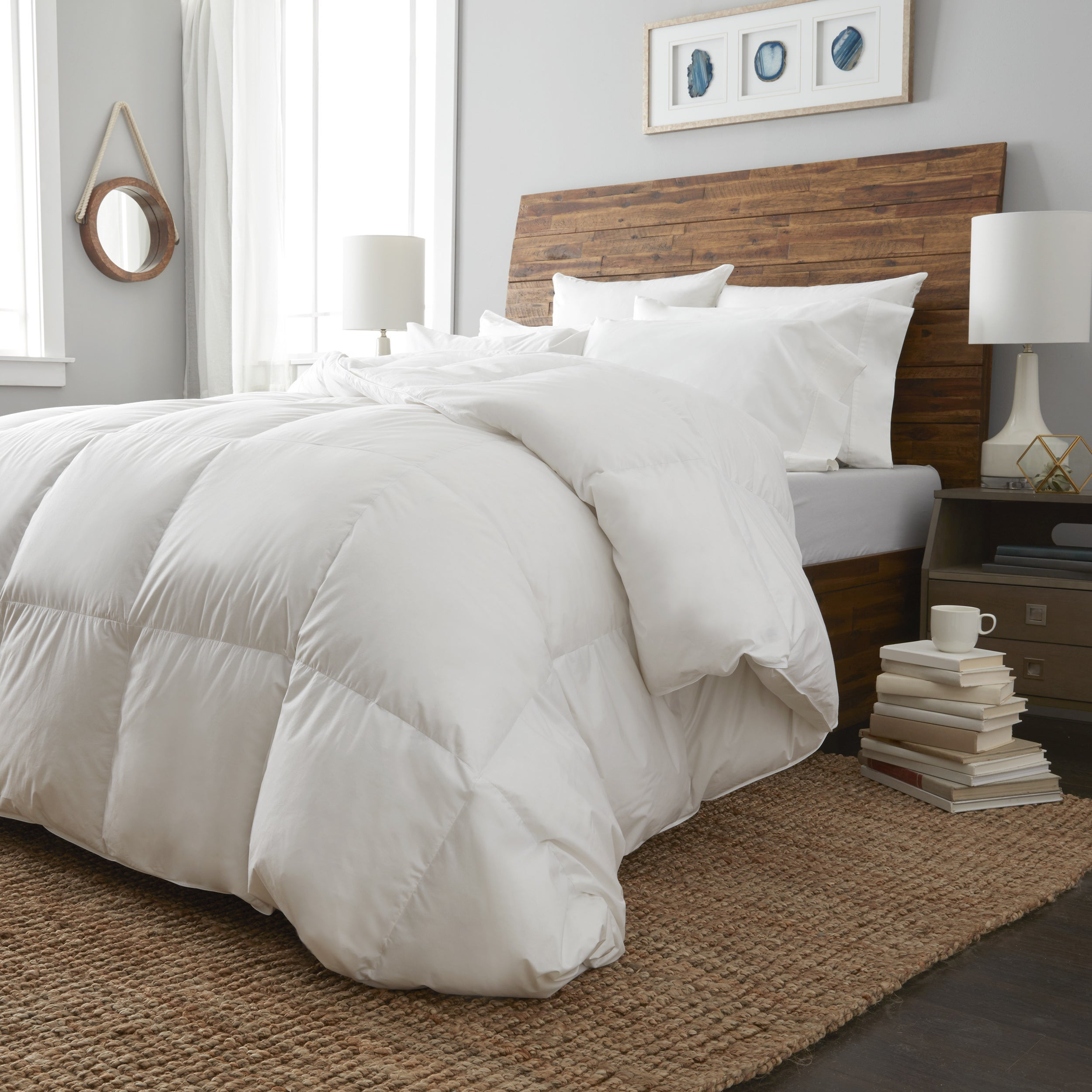 puredown overstock thread comforter st hungarian home heavy free product james down bath count cotton fill bedding today goose shipping white