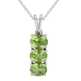 Sterling Silver Oval Peridot Pendant Necklace