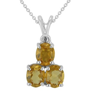AALILLY Sterling Silver Oval Citrine Pendant Necklace