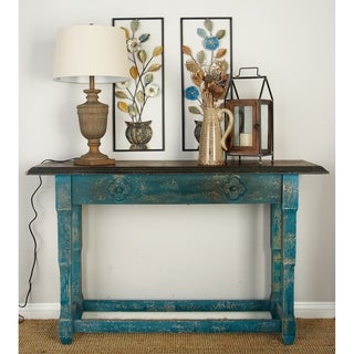 Hand Painted Distressed Turquoise Finish Console Table