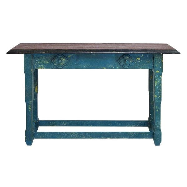 Distressed blue wood console table free shipping today for Sofa table 36 high