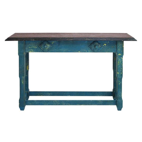 Distressed blue wood console table free shipping today for 36 inch console table