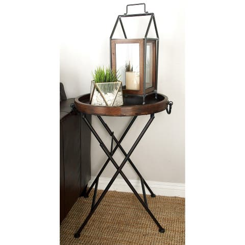 Traditional 28 x 20 Inch Round Brown Tray Table by Studio 350