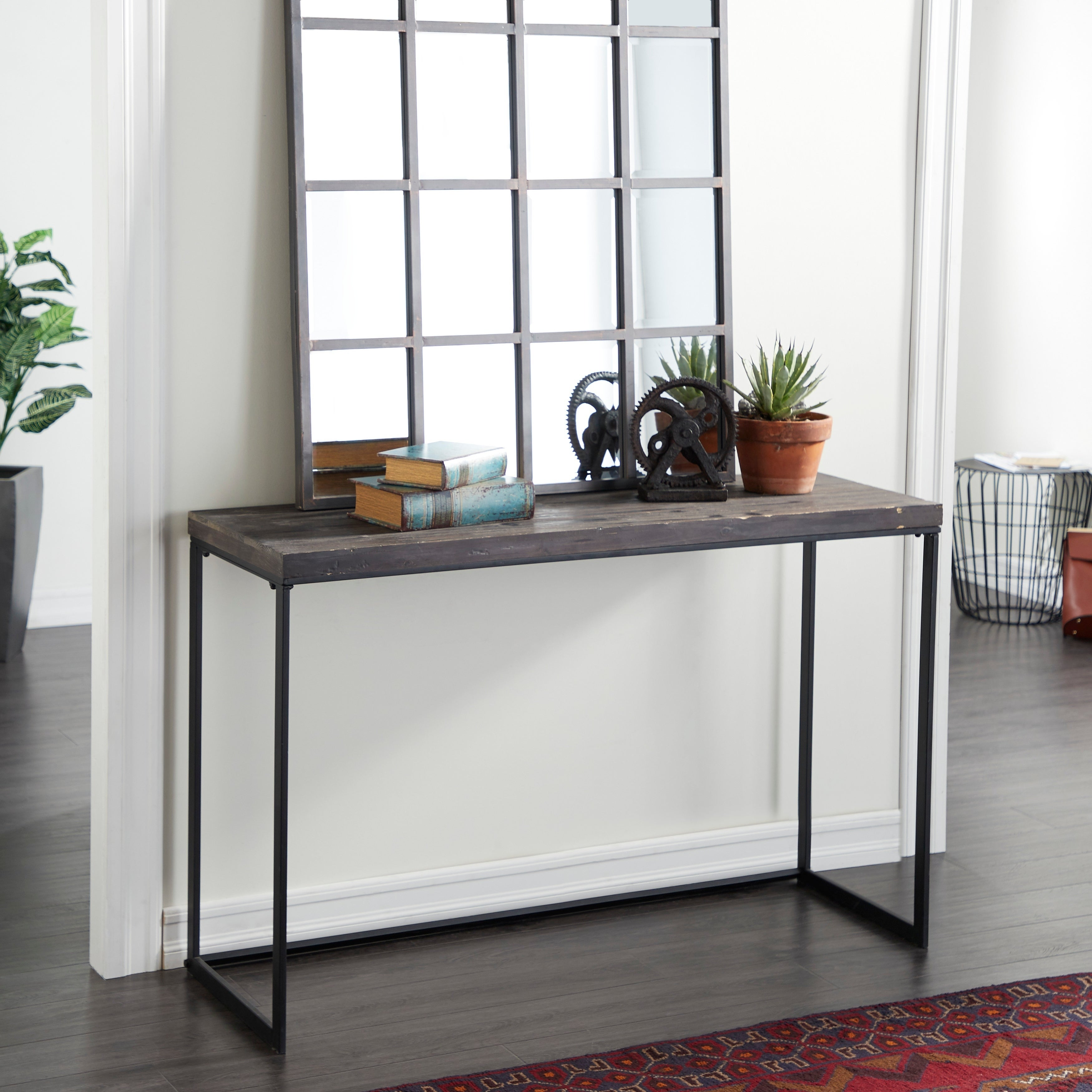 Contemporary 33 Inch Rectangular Brown Console Table by Studio 350