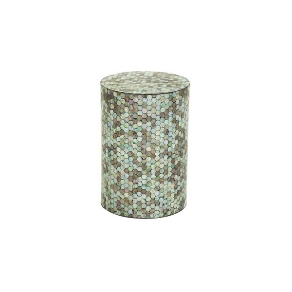 Wood White/ Grey Shell Inlay Accent Table (14 inches wide x 20 inches high)