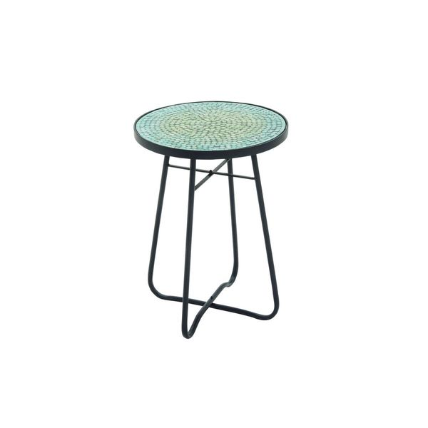 Metal glass round turquoise accent table 16 inches wide x for 10 wide end table