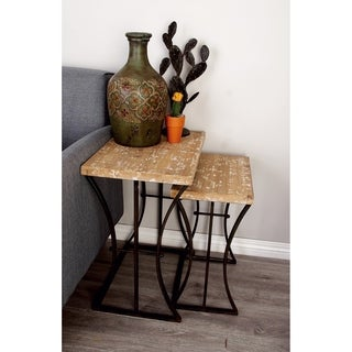 Metal Wood Nesting Table (Set Of 3) 26inches X 22inches X 19 Inches High