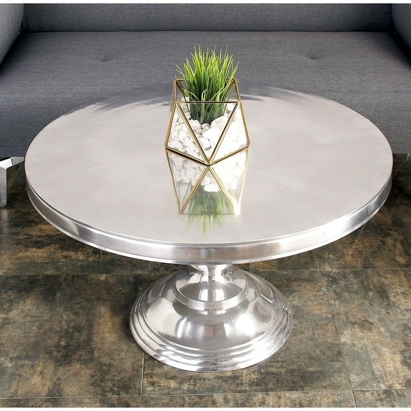 30 X 19 Traditional Metallic Silver Round Coffee Table By