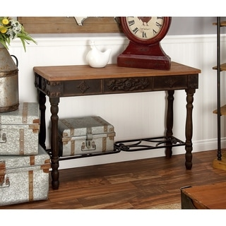 Wood And Metal Console Table (42 inches wide x 30 inches high)