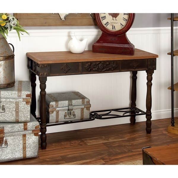 Traditional 30 X 42 Inch Wood And Metal Console Table By Studio 350 Overstock 12205560