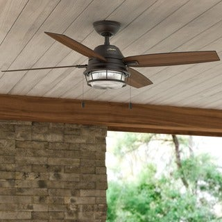 """Hunter 52"""" Ocala Outdoor Ceiling Fan with LED Light Kit and Pull Chain, Damp Rated - Noble Bronze"""