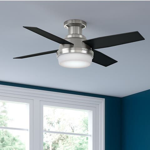 Hunter Fan Dempsey Collection 44 Inch Low Profile Reversible Blades Ceiling Silver