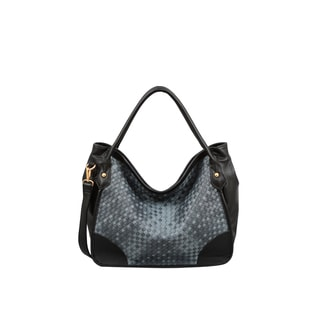 Mellow World Kiki Lattice Black/ Grey Hobo Handbag