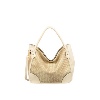 Mellow World Kiki Beige Lattice Hobo Handbag