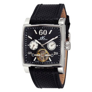 Adee Kaye Men's AK9043 Silvertone/Black Open Heart Automatic Watch