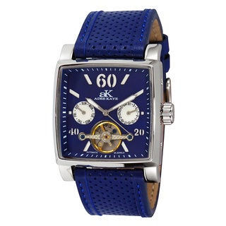 Adee Kaye Men's AK9043 Open Heart Silvertone Blue Automatic Watch