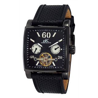 Adee Kaye Beverly Hills Men's AK9043 Black Open-heart Automatic IP Watch