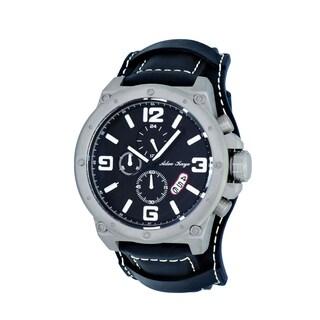 Adee Kaye AK8896 Men's Saddle Grey/Black Stainless Steel Chronograph Cuff Watch