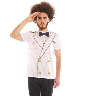 Men's White Polyester Faux Captain's Uniform T-shirt