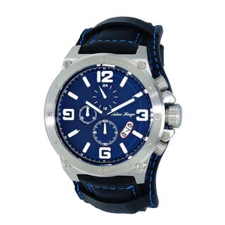 Adee Kaye AK8896 Men's Saddle Silvertone and Blue Chronograph Cuff Watch|https://ak1.ostkcdn.com/images/products/12205618/P19052652.jpg?impolicy=medium