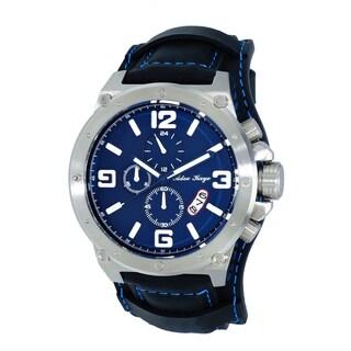 Adee Kaye AK8896 Men's Saddle Silvertone and Blue Chronograph Cuff Watch