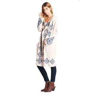 Orange Creek Tribal Embroidered Open Waterfall Hooded Cardigan