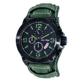 Adee Kaye AK8896 Saddle Black/Green Ion-plated Stainless Steel Mens' Chronograph Cuff Watch|https://ak1.ostkcdn.com/images/products/12205627/P19052650.jpg?impolicy=medium