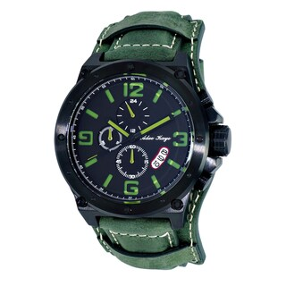 Adee Kaye AK8896 Saddle Black/Green Ion-plated Stainless Steel Mens' Chronograph Cuff Watch