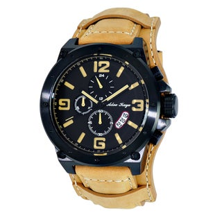 Adee Kaye Men's 'Saddle' Black and Tan Chronograph Cuff Watch