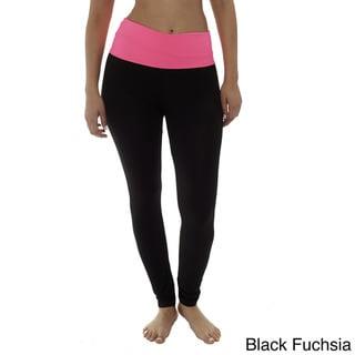 Long Yoga Leggings With Colorful Waistband