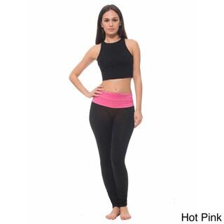 Women's Yoga Leggings With Heathered Contrast Waistband