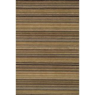 Hand-hooked Barrow Sage/ Multi Striped Wool Rug (9'3 x 13')
