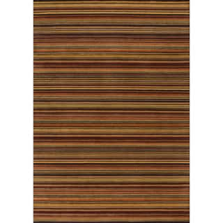 Hand-hooked Barrow Spice Striped Wool Rug (9'3 x 13')