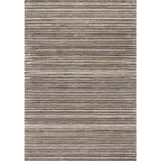 Hand-hooked Barrow Silver Striped Wool Rug (9'3 x 13')