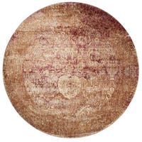 Traditional Rust Floral Distressed Round Rug - 9'6 x 9'6