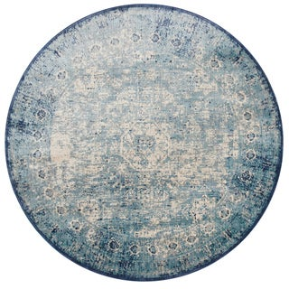 "Traditional Light Blue/ Ivory Medallion Distressed Round Rug - 9'6"" x 9'6"" Round"
